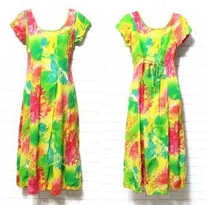 Jams World Floral Short Sleeve Midi Sun Dress S